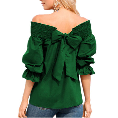 Off Shoulder Bowknot Blouse (Blue, Green, Black, Red)