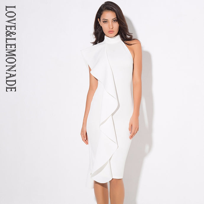 Love&Lemonade Sexy White High Collar Collar Lotus Leaf Slim Party Dress  LM0312