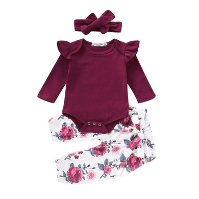 Zoey's Floral & Fluff Ruffle 3 piece set (Burgundy & Yellow)