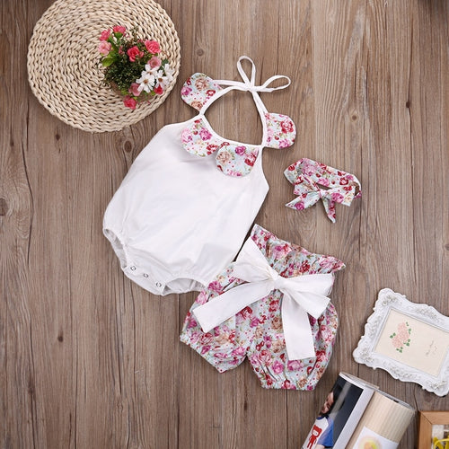 Baby Floral Halter 3 Pc Set White, Pink