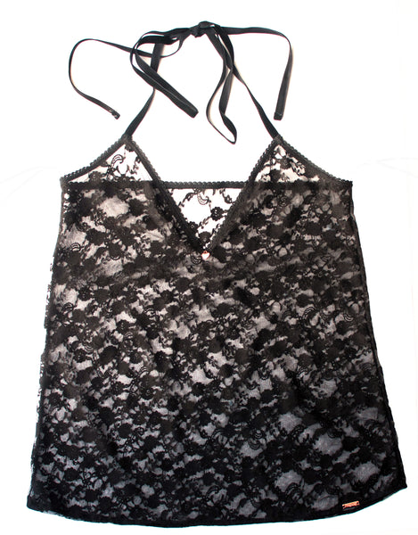 Midnight Lace Halter Neck Cami