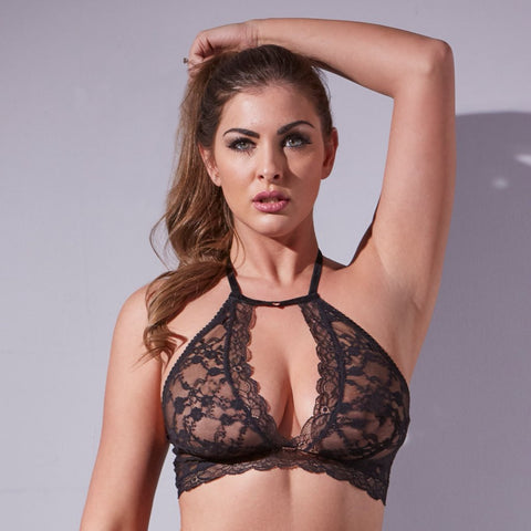 Midnight Lace Halter Neck Bralette