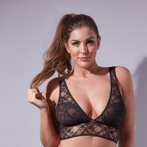 Midnight Lace Deep V-Neck Bralette with Hook and Eye