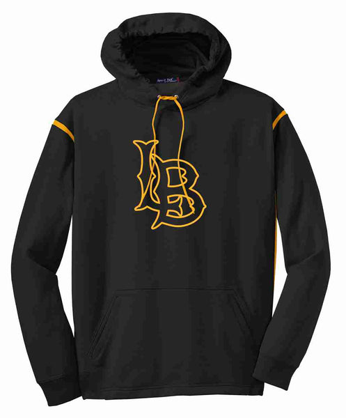 Lowry Baseball Black LB Sport-Tek® Tech Fleece Colorblock Hooded Sweatshirt