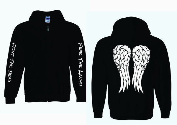 Fight The Dead Fear The Living Sleeves on Adult FULL ZIP HOODIE with Angel Wings