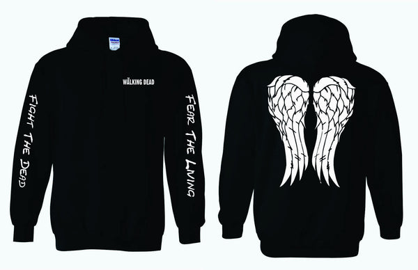 The Walking Dead - Fight The Dead Fear The Living Sleeves on Adult HOODIE with Angel Wings