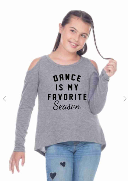 Dance Plus Studio - Dance Is My Favorite Season - 25th Anniversary SLUB JERSEY SCOOP NECK COLD SHOULDER HIGH-LOW LONG SLEEVE