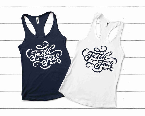 Faith Over Fear Next Level Women's Ideal Racerback Tank