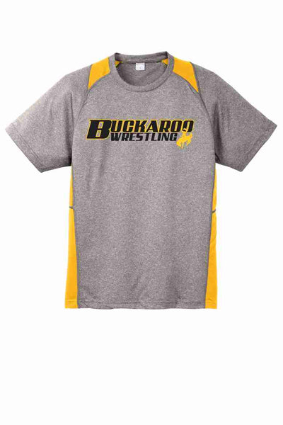 Buckaroo Wrestling - Sport-Tek® Heather Colorblock Contender™ Tee {Heather Gray/Gold}
