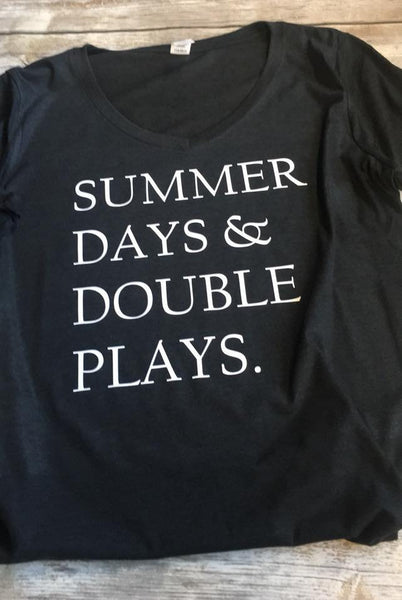 Summer Days & Double Plays  {Baseball} {Softball} Ladies Perfect Tri® V-Neck Tee