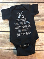 I'm Proof That My Daddy Doesn't Work On The Racecar ALL The Time - Wrench & Screwdriver Design Infant Bodysuit {Racing Dad} Baby Shower Gift