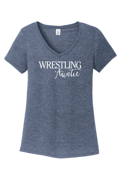 Wrestling Auntie - District ® Women's Perfect Tri ® V-Neck Tee {Wrestling} {Wrestling Aunt} {Wrestling Auntie}