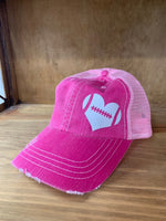 Glitter Football Heart Trucker Cap
