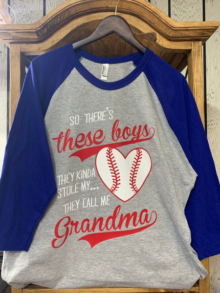 So There's These Boys, They Kinda Stole My Heart, They Call Me Grandma Raglan Three-Quarter Sleeve T-Shirt
