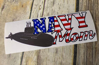 Navy Mom American Flag Decal