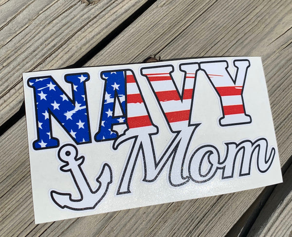 Navy Mom American Flag with Anchor Decal