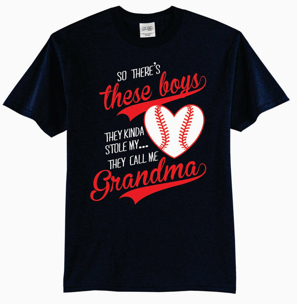 So There's These Boys, They Kinda Stole My Heart, They Call Me Grandma Baseball T-Shirt