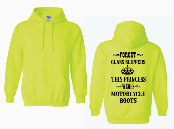 This Princess Wears MOTORCYCLE Boots - Adult Heavy Blend Hooded Sweatshirt With BLACK Graphics