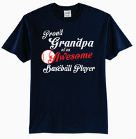 Proud GRANDPA of an Awesome Baseball Player Adult T-Shirt