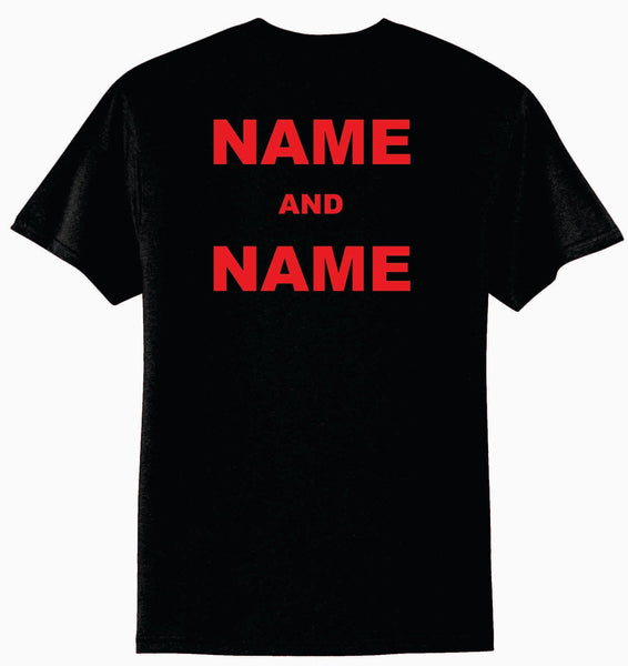 Personalization For Shirt Back - TWO Names