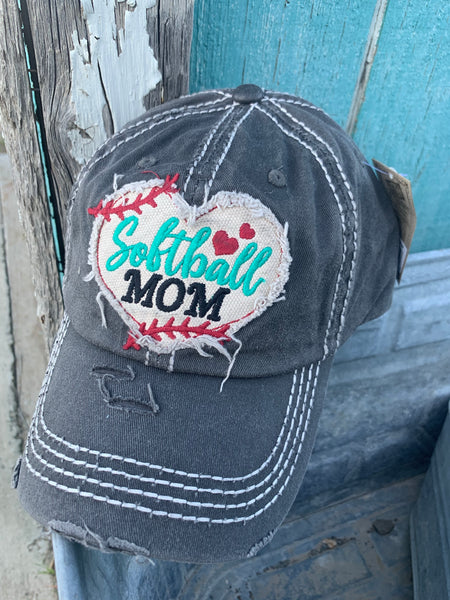 Softball Mom  Embroidered Distressed Vintage Style Baseball Cap