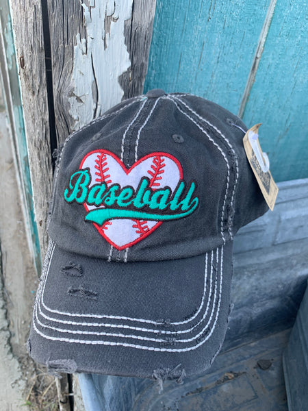 Baseball Heart Embroidered Distressed Vintage Style Baseball Cap