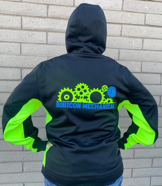 Rubicon Mechanical Line of Gears Logo Hoodie {Black/Safety Green/Rubicon Blue}
