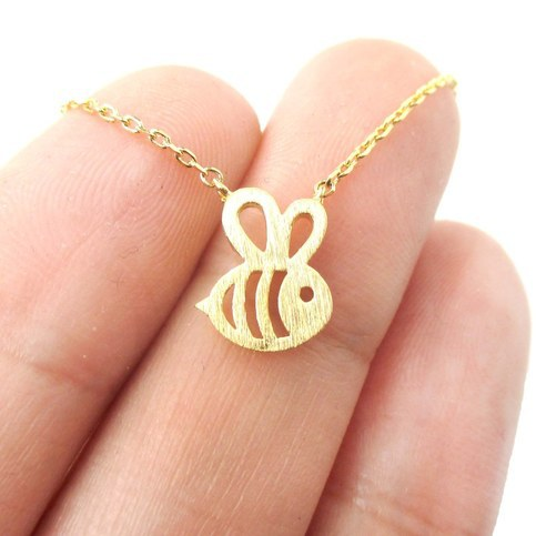 Bumble Bee Necklace Shaped Cute Insect Charm Pendant Long Necklace