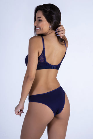 Underwear,Navy Butterfly Back Push-up Bra and Panty