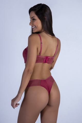 Underwear,Dusty Pink Sweetheart Push-up Bra and Thong