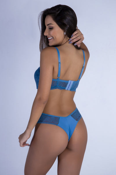 Underwear Blue Sweetheart Push-up Bra and Thong - Womens Activewear and Workout Clothes | RomanceUSA