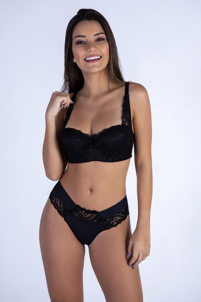 Underwear,Black Sweetheart Push-up Bra and Thong