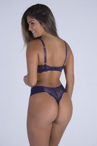 Underwear,Navy Blue Perfect Shape Push-up Bra and Lace-back Thong
