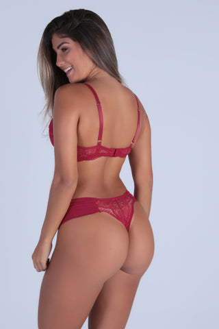 Underwear,Red Perfect Shape Push-up Bra and Lace-back Thong