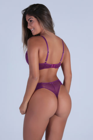 Underwear,Purple Perfect Shape Push-up Bra and Lace-back Thong
