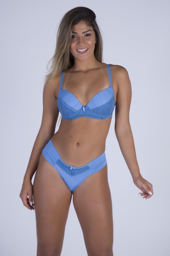 Underwear,Baby Blue Perfect Shape Push-up Bra and Lace-back Thong