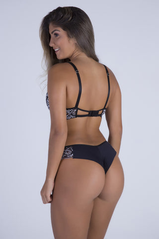 Underwear,Black Dream Push-up Strap Detail Bra and Thong