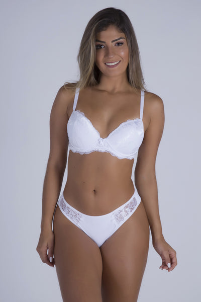 Underwear White Lace Cheeky Push-up Bra and Thong - Womens Activewear and Workout Clothes | RomanceUSA