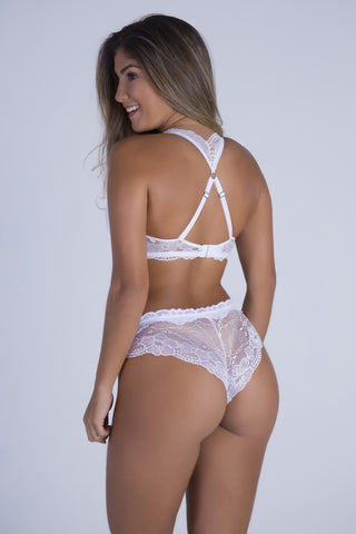 Underwear,White Date Racerback Push-up Bra and Cheeky Panty