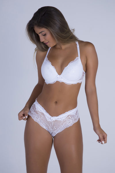 Underwear White Date Racerback Push-up Bra and Cheeky Panty - Womens Activewear and Workout Clothes | RomanceUSA