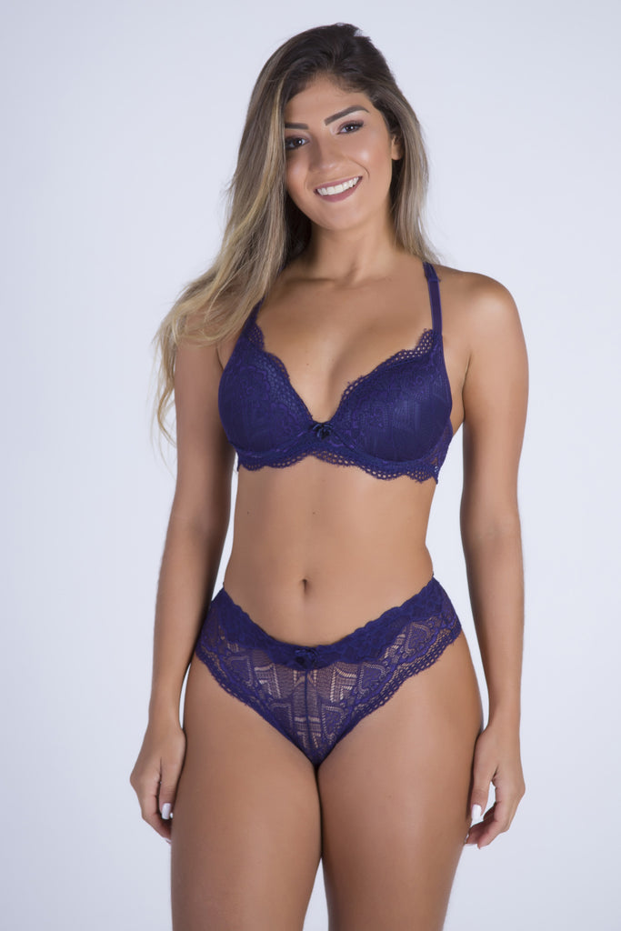 Underwear,Navy Date Racerback Push-up Bra and Cheeky Panty