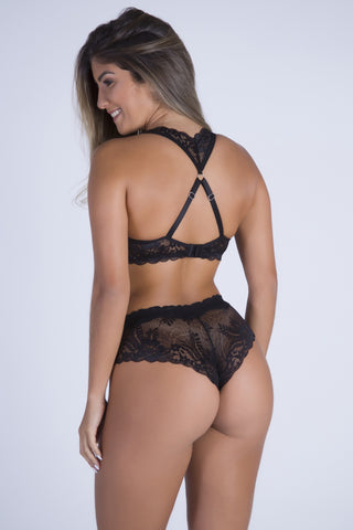 Underwear,Black Date Racerback Push-up Bra and Cheeky Panty