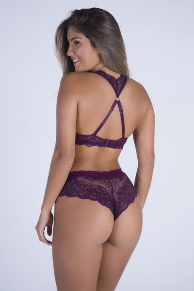 Underwear Purple Date Racerback Push-up Bra and Cheeky Panty - Womens Activewear and Workout Clothes | RomanceUSA