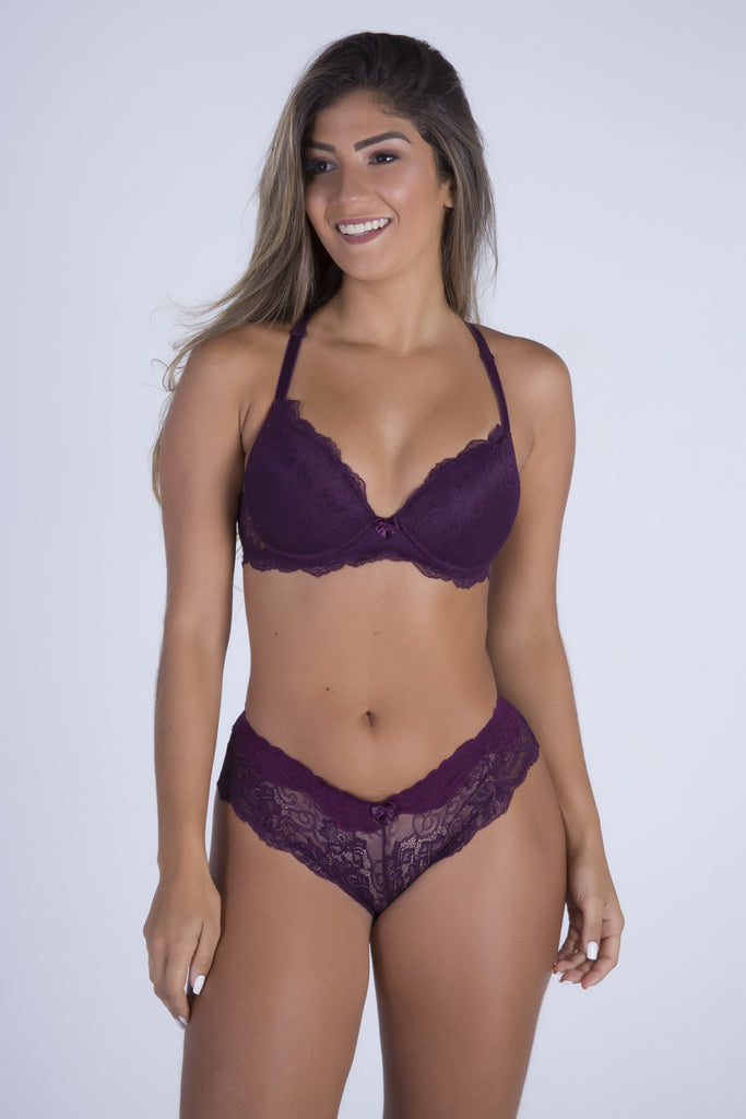 Underwear,Purple Date Racerback Push-up Bra and Cheeky Panty