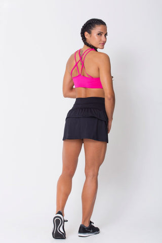 Bottoms,Black Ruffled Skort