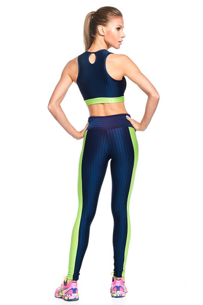 Bottoms Navy with Green 3D Disco Legging - Womens Activewear and Workout Clothes | RomanceUSA