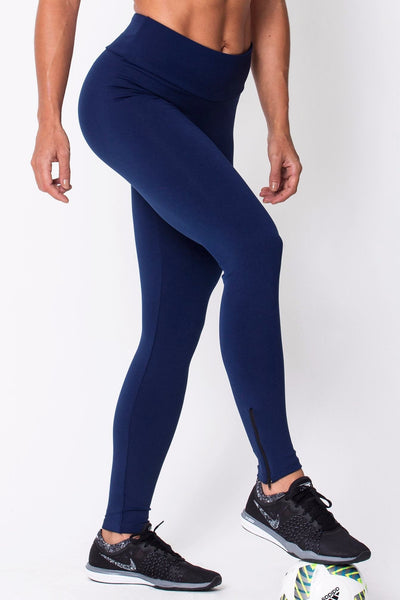 Bottoms Navy Zip Up Legging - Womens Activewear and Workout Clothes | RomanceUSA