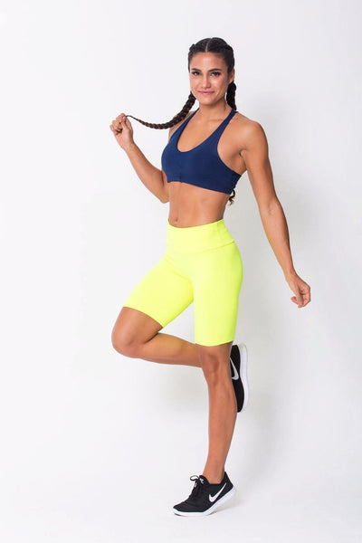 Bottoms Neon Yellow Long Shorts - Womens Activewear and Workout Clothes | RomanceUSA