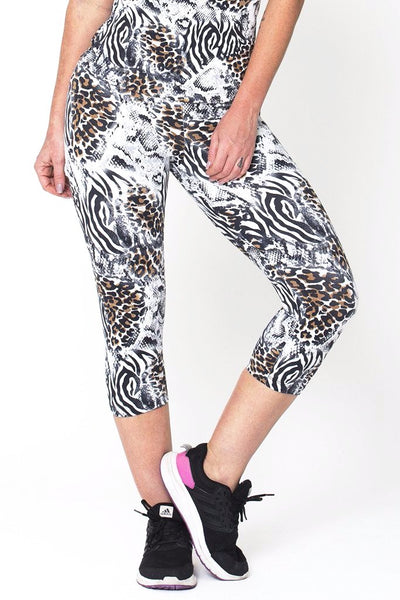 Bottoms White Animal Capri - Womens Activewear and Workout Clothes | RomanceUSA