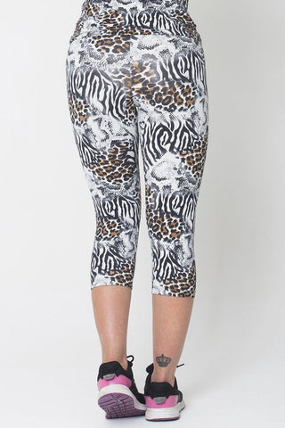 Bottoms,White Animal Capri